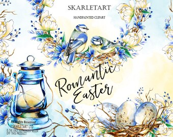 Easter Clipart Watercolor Clipart Spring flower clipart Peony Forest Nest Easter eggs, Happy Easter Invitation, Romantic easter Lantern