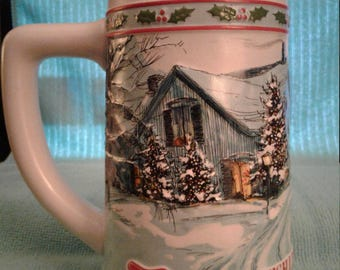 Vintage 1984 Miller High Life, Holiday Season, Beer Stein, Tankard Mug, Made In Brazil