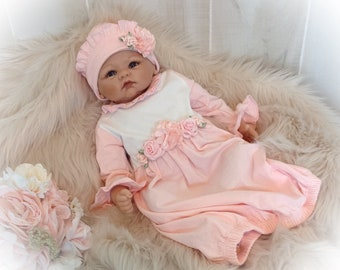 Newborn Take Home Outfit, Pink Layette Gown Cap, Newborn Gown, Girl Coming Home Oufit