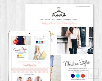 Fashion Style E-mail Newsletter Template PSD//Template Design//Instant Download//Editable
