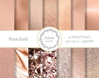 Rose Gold digital paper - Rose Gold clipart - Metallic Scrapbook paper - Rose Gold Digital Paper - Rose Gold Digital Paper - Commercial use