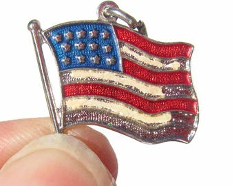 Sterling Silver American Flag Charm, Enamel USA Charm, Patriotic Charm, Charm for Charm Bracelets, Red White and Blue, July 4th