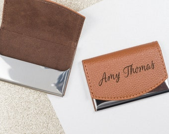 Business Card Holder, Card Holder, Business Card Case, Card Case, Business Gift, Engraved Card Case, Leather Card Case, Custom Card Holder