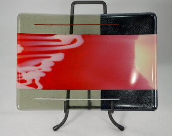 Fused Glass Red and Black Plate