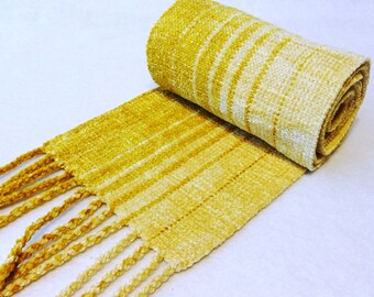 Handwoven Rayon Chenille Scarf, Gold Scarf, Gold Chenille Scarf, Chenille Scarf, Woven Scarf, Fibonacci Gold/Natural Sparkle #12-02