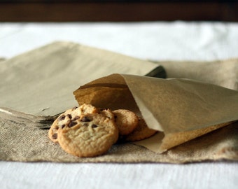 50 Glassine / Wax Lined Bags - Food Safe, Candy, Cookies, Sandwich, Baked Goods, Gifts, Treats, Etc .KRAFT Food Safe Bags