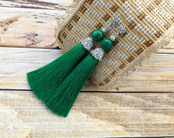 Green tassel earrings, elegant earrings, statement earrings, long tassel earrings