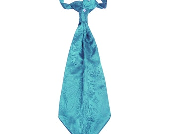 New Men's Paisley Turquoise Ascot Cravat Tie, for Formal Occasions