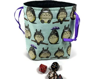 Totoro Dice Bag, Drawstring Pouch, Drawstring Bag, Drawstring Dice Bag, studio Ghibli Dice Bag, Dice Pouch, Totoro Drawstring Bag