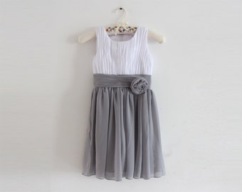 White Grey Flower Girl Dress with Straps White Gray Knee-length Chiffon Baby Girl Dress With Flower