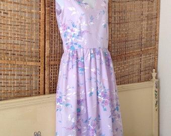 Vintage Lavender Floral Summer Cotton Dress Sleeveless Casual Day Dress Sz 6