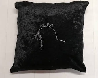 Embroidered Cat Cushion, Crushed Velvet Cat Cushion, Decorative Cushions, Embroidered Pillow