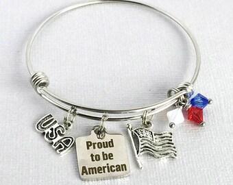 Celebrate AMERICA Bracelet, 4th of July Jewelry, Patriotic Bracelet, Red White and Blue Charm Bangle, USA Pride