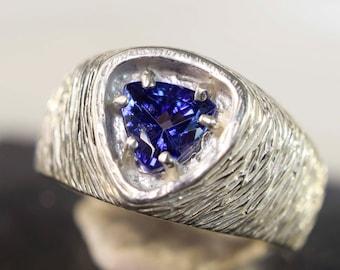 Tanzanite Ring, Genuine Gemstone Trillion 6mm 1.26ct Set in 925 Sterling Silver Ring