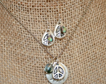 PEACE Stamped (20.6mm Dia x 1.2mm)disk with  peace symbols charms and Stones