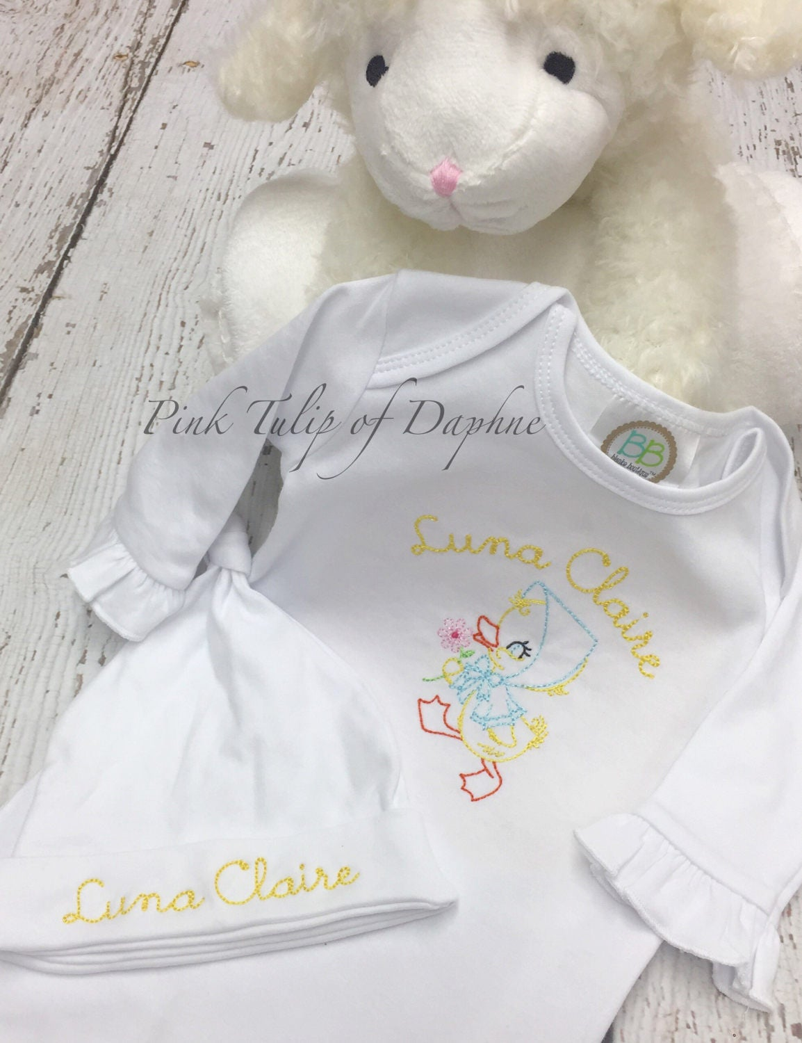 Vintage duckling baby gown, newborn gown, infant gown with vintage ...