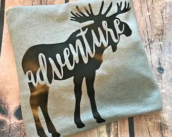 Moose Adventure Top - Camping Shirt - Wilderness Shirt - Womens Shirt - Outdoors Outfit