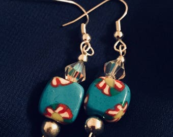 Handcrafted polymer clay unique artisan earrings