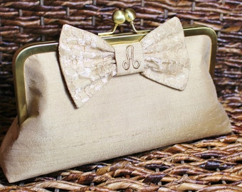 Personalized Silk Dupioni Lace Bow Clutch - Wedding Clutch - Bridesmaid Clutch -Champagne Gold, Ivory, Silver