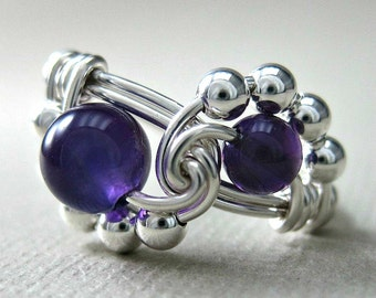 Wire Wrapped Ring Sterling Silver and Amethyst Binary