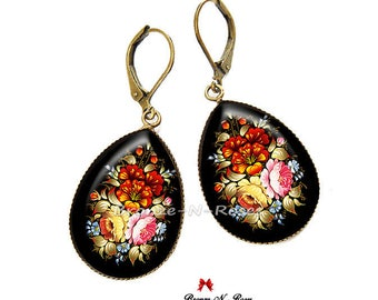 Drop earrings * flowers * fantasy Bohemian red glass cabochon jewel