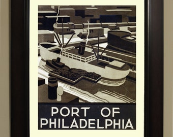 Port of Philadelphia WPA Poster - 3 sizes available, one price.