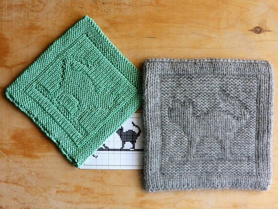 Two Sided Knitting Pattern Cat Pdf Instant Download Easy
