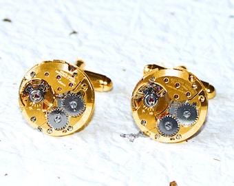BULOVA Men Steampunk Cufflinks - Gold Round Vintage Watch Movement - Men Steampunk Cufflinks Cuff Links Watch Cufflinks Men Wedding Gift