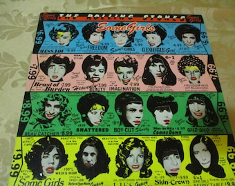 Vintage 1978 LP Record The Rolling Stones Some Girls 1st Issue With Diecut Cover Celebrity Faces Excellent Condition 16552