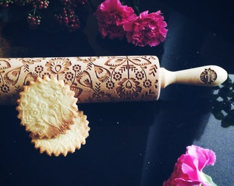 FOLK FLOWERS rolling pin, embossing rolling pin, engraved rolling pin by laser