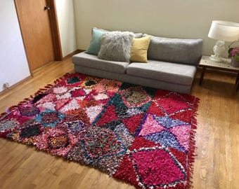 """FREE SHIPPING!!! """"PEMBE"""" Boho Chic Rug Vintage Moroccan Boucherouite in Multi Colors (Los Angeles)"""