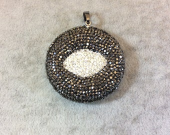 Pave Rhinestone Encrusted Abstract Eye Shaped Resin Pendant with Gray/White Rhinestones and Attached Bail - Measuring 39mm x 39mm, Approx.