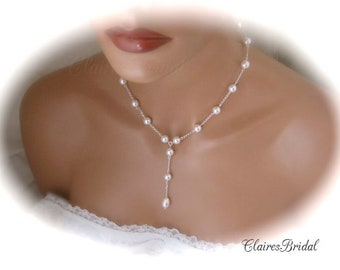 Wedding Pearl Necklace Bridal Jewelry Swarovski White Pearl Wedding Jewelry