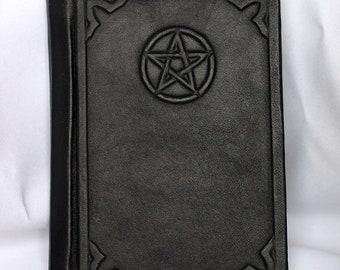 Leather bound handmade blank journal Pentacle