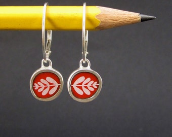 Leaf Earrings - Vitreous Enamel and Sterling Silver Earrings - Wear 2 Ways - Modern Earrings in Orient Red and Black