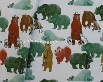 """2366  - 1 yard Cotton fabric - Animal - bear (140cmx91.44cm,55""""x36"""")"""