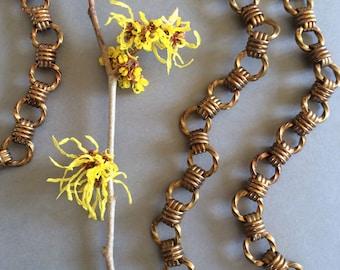 Vintage Twist Chain, Antique Brass Chain, XL Fancy Chain