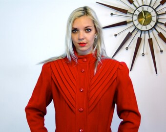 Long Wool Coat, 60s Red coat, Princess cut coat, Vintage 1960s Maxi Coat, Womens Long Coat, 60s High Collar coat, Puff Sleeve coat, Ladies M