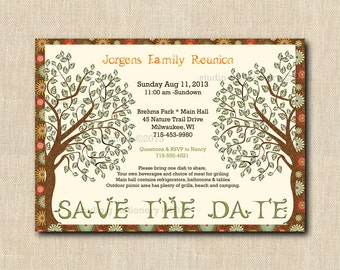 Family Reunion Save the Date POSTCARD - Customized and Printed for you - Full Printing - Family Reunion Printed Postcard