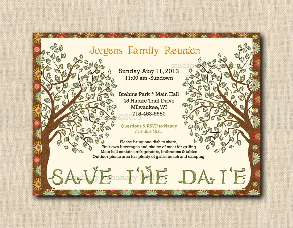Family Reunion Save the Date POSTCARD Customized and Printed