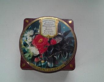 Vintage Tin Box / Marks and Spencer Cookie Tin / Scottish Floral Shortbread Tin