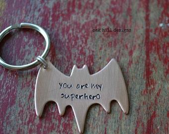 bat hand stamped superhero copper keychain