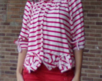 HAND UPCYCLED swing TOP cowl neck red stripes artsy S M (B8)