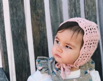 Pink Bonnet, Crochet Bonnet, Easter Bonnet, Pink Baby Hat, Baby Girl Bonnet, Crochet Baby Hat, Handmade Baby Hat, Handmade Bonnet, Knit Hat