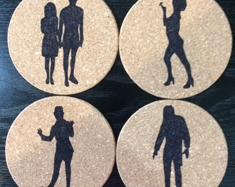 Set of 4 round cork The Rocky Horror Picture Show coasters, Janet Weiss and Brad Majors, Dr. Frank N. Furter, Columbia, Riff Raff