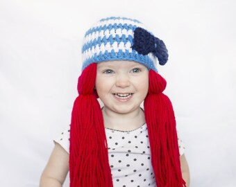 Raggedy Ann Wig Pigtail Hat- Redhead Sailor Hat- Halloween Costume - Crocheted Blue Bow Beanie