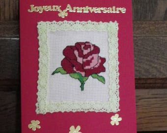 """embroidered """"happy birthday"""" greeting card"""
