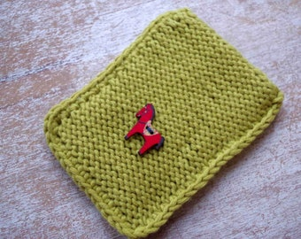 hand knit  case external disc slip universal size light green with red horse