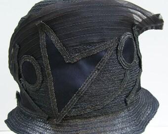 Vintage 1920s Blue Geometric Horsehair Womens Cloche