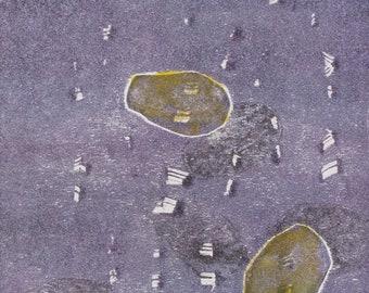 "Original image, Monotype ""Rhine stones 1"", sheet size din A4, motif size 15 x 20 cm, abstract landscape"